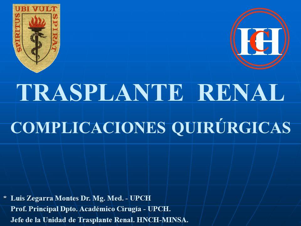 TRASPLANTE RENAL COMPLICACIONES QUIRÚRGICASSANGRADO * FR Antiagregantes plaquetarios, Anticoagulantes.