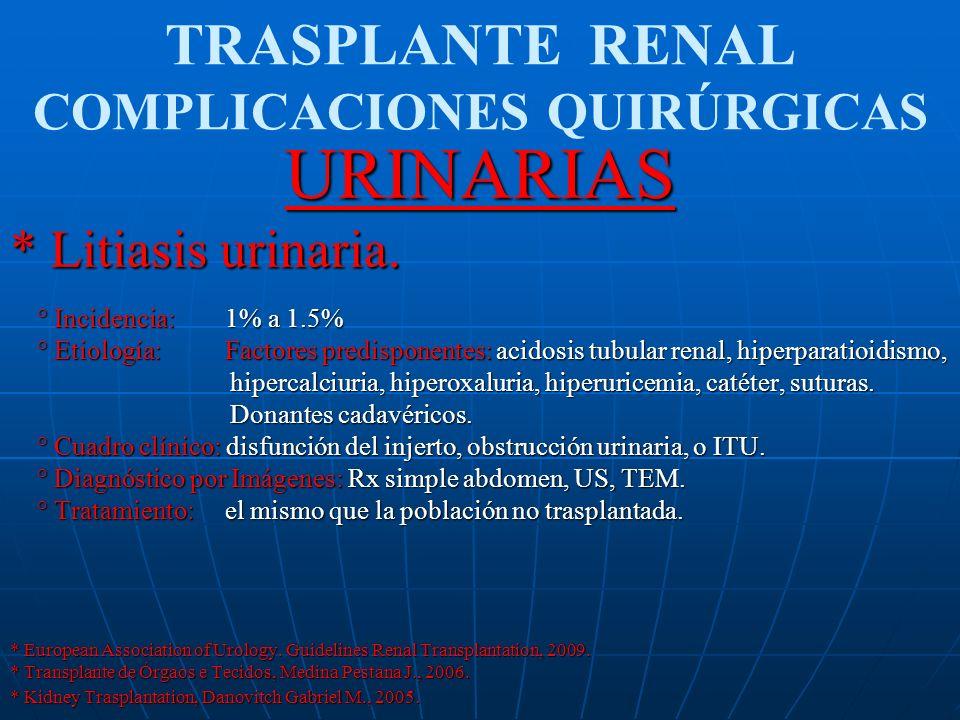 TRASPLANTE RENAL COMPLICACIONES QUIRÚRGICASURINARIAS * Litiasis urinaria. ° Incidencia: 1% a 1.5% ° Incidencia: 1% a 1.5% ° Etiología: Factores predis