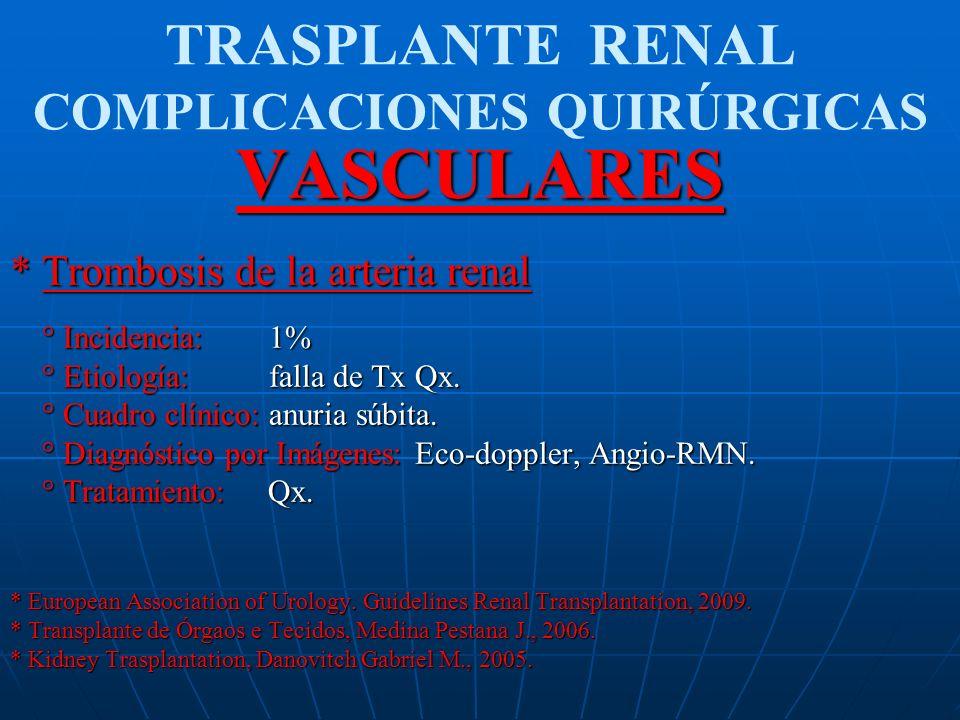 TRASPLANTE RENAL COMPLICACIONES QUIRÚRGICASVASCULARES * Trombosis de la arteria renal ° Incidencia: 1% ° Incidencia: 1% ° Etiología: falla de Tx Qx. °