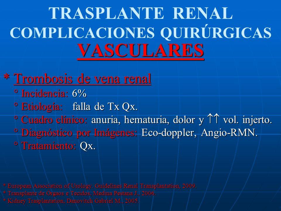 TRASPLANTE RENAL COMPLICACIONES QUIRÚRGICASVASCULARES * Trombosis de vena renal ° Incidencia: 6% ° Incidencia: 6% ° Etiología: falla de Tx Qx. ° Etiol