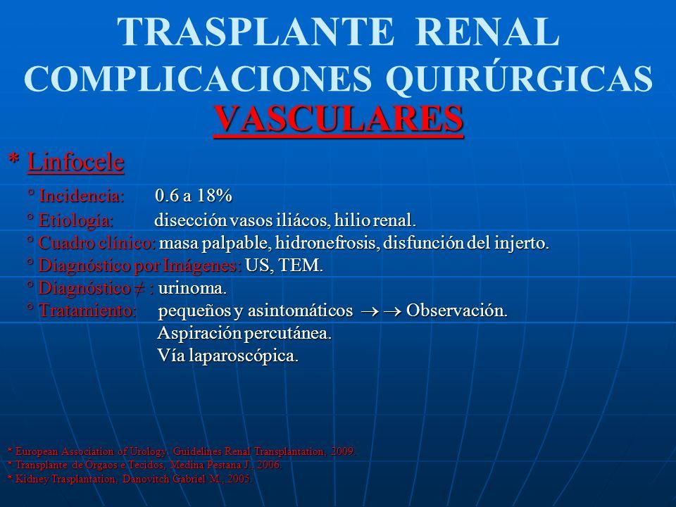 TRASPLANTE RENAL COMPLICACIONES QUIRÚRGICASVASCULARES * Linfocele ° Incidencia: 0.6 a 18% ° Incidencia: 0.6 a 18% ° Etiología: disección vasos iliácos