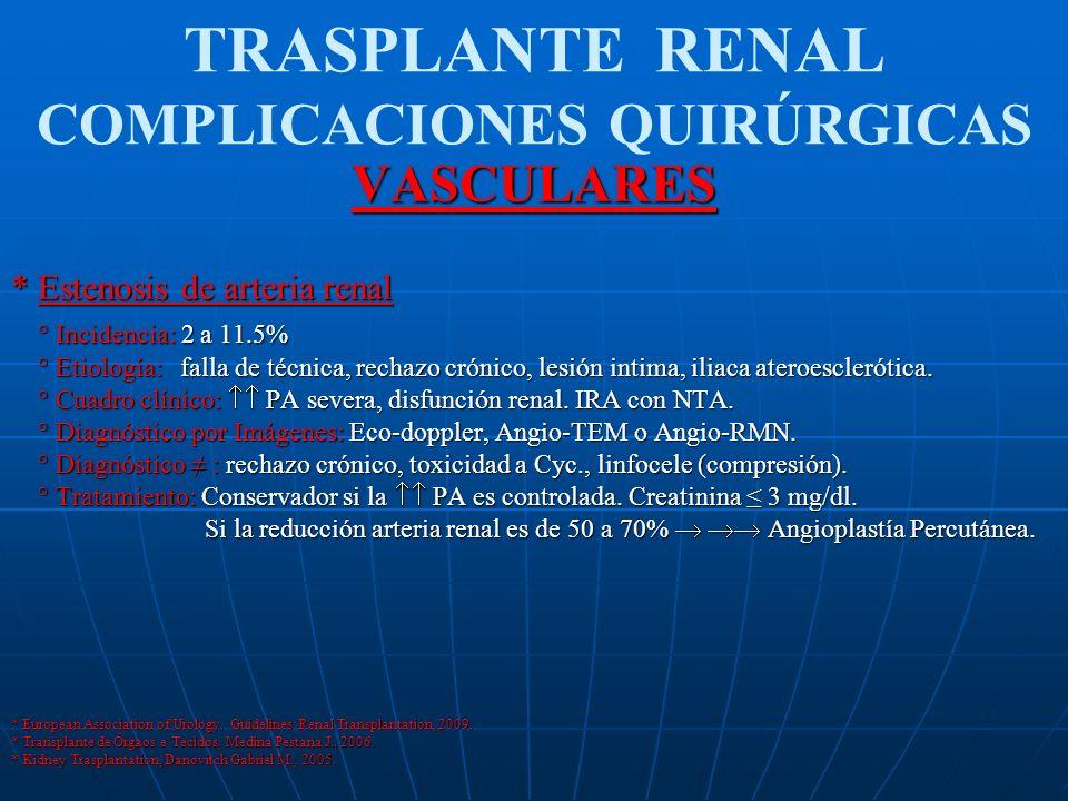TRASPLANTE RENAL COMPLICACIONES QUIRÚRGICASVASCULARES * Estenosis de arteria renal ° Incidencia: 2 a 11.5% ° Incidencia: 2 a 11.5% ° Etiología: falla