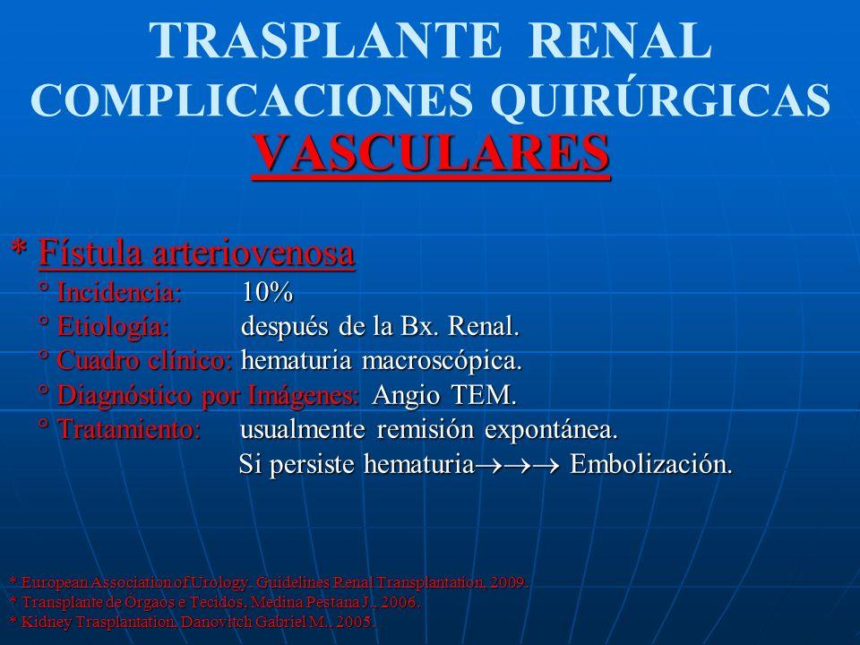 TRASPLANTE RENAL COMPLICACIONES QUIRÚRGICASVASCULARES * Fístula arteriovenosa ° Incidencia: 10% ° Incidencia: 10% ° Etiología: después de la Bx. Renal