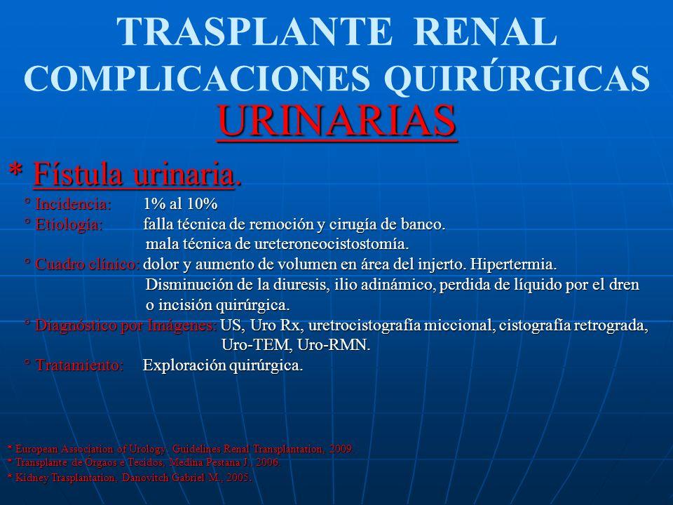 TRASPLANTE RENAL COMPLICACIONES QUIRÚRGICASURINARIAS * Obstrucción ureteral ° Incidencia: 8.5% a 10% ° Incidencia: 8.5% a 10% ° Etiología: PRECOZ: isquemia, coágulos en la luz ureteral, error de técnica.