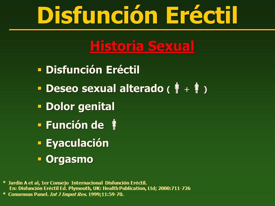 Historia Sexual Disfunción Eréctil Deseo sexual alterado ( + ) Dolor genital Función de Eyaculación Orgasmo Historia Sexual Disfunción Eréctil Deseo s