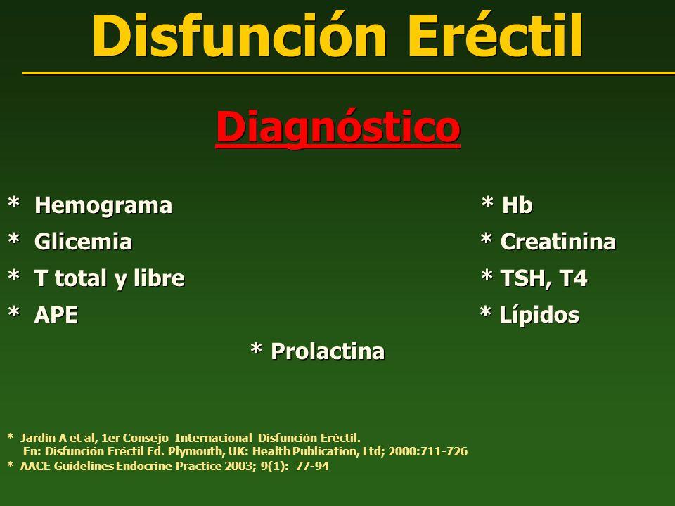 Diagnóstico * Hemograma * Hb * Glicemia * Creatinina * T total y libre * TSH, T4 * APE * Lípidos * Prolactina Diagnóstico * Hemograma * Hb * Glicemia