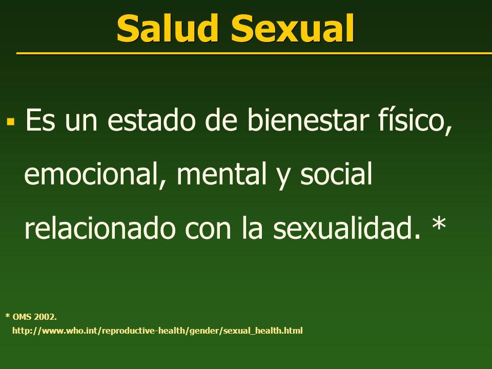 Salud Sexual Es un estado de bienestar físico, emocional, mental y social relacionado con la sexualidad. * * OMS 2002. http://www.who.int/reproductive