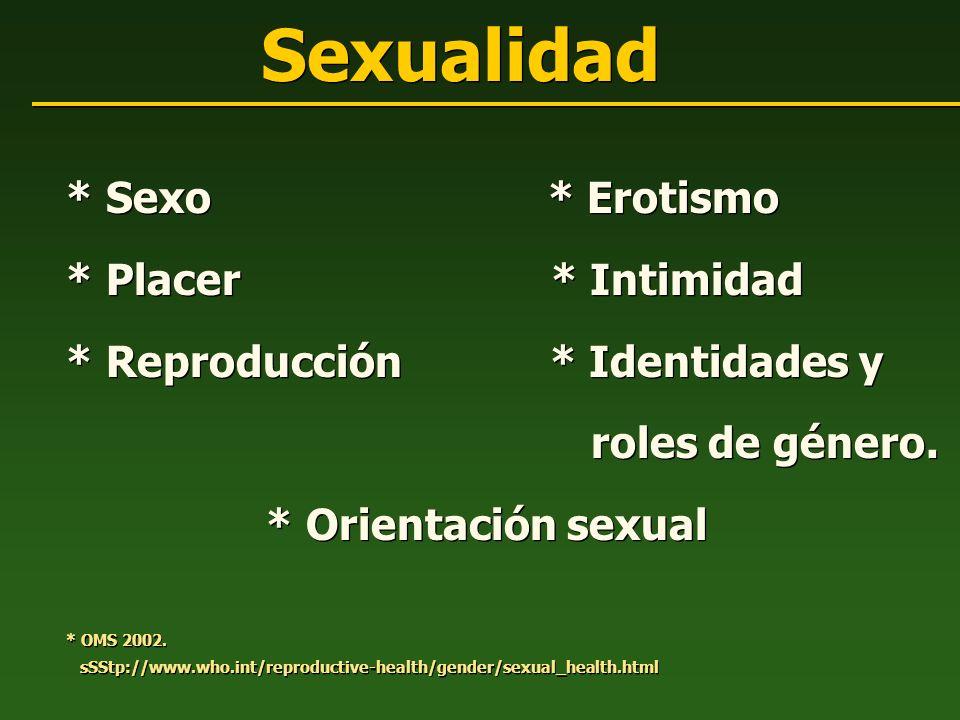 Sexualidad * Sexo * Erotismo * Placer * Intimidad * Reproducción * Identidades y roles de género. * Orientación sexual * OMS 2002. sSStp://www.who.int