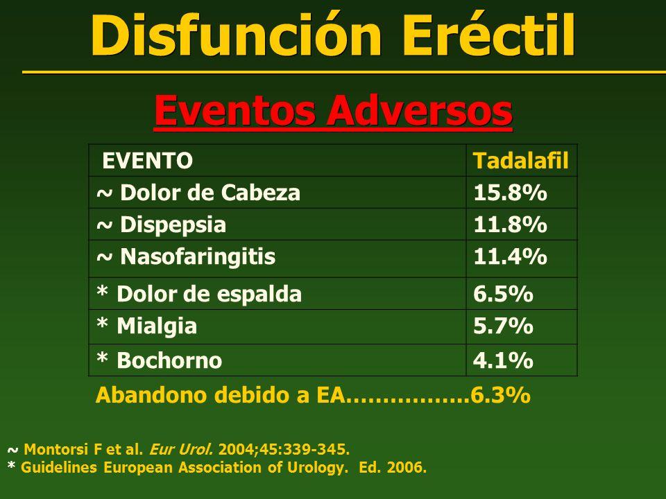 Eventos Adversos Disfunción Eréctil ~ Montorsi F et al. Eur Urol. 2004;45:339-345. * Guidelines European Association of Urology. Ed. 2006. EVENTOTadal