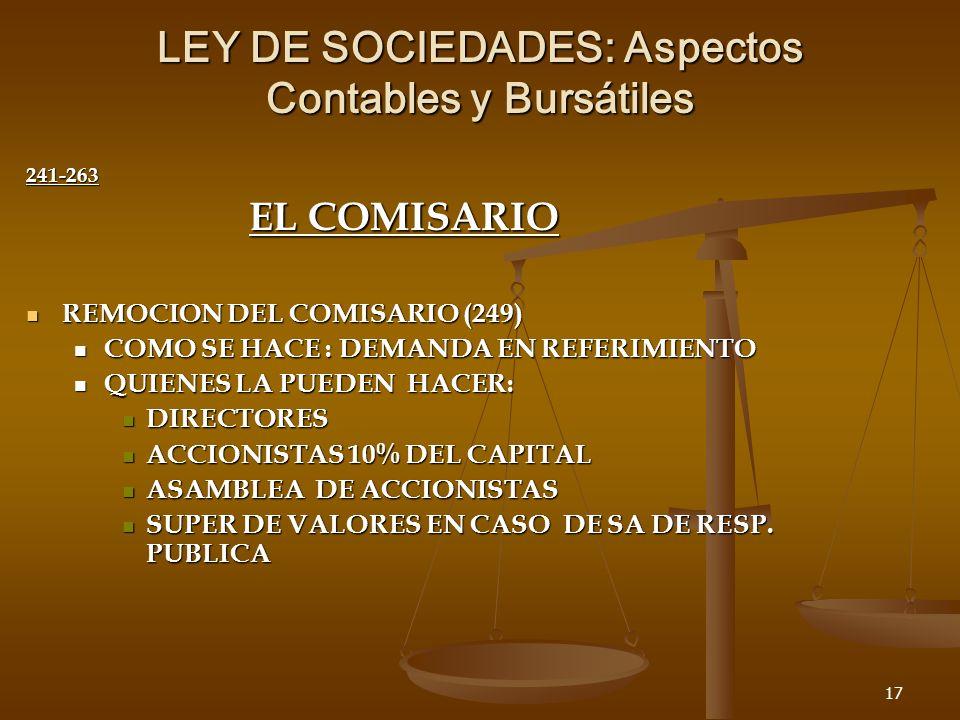 17 LEY DE SOCIEDADES: Aspectos Contables y Bursátiles 241-263 EL COMISARIO REMOCION DEL COMISARIO (249) REMOCION DEL COMISARIO (249) COMO SE HACE : DEMANDA EN REFERIMIENTO COMO SE HACE : DEMANDA EN REFERIMIENTO QUIENES LA PUEDEN HACER: QUIENES LA PUEDEN HACER: DIRECTORES DIRECTORES ACCIONISTAS 10% DEL CAPITAL ACCIONISTAS 10% DEL CAPITAL ASAMBLEA DE ACCIONISTAS ASAMBLEA DE ACCIONISTAS SUPER DE VALORES EN CASO DE SA DE RESP.