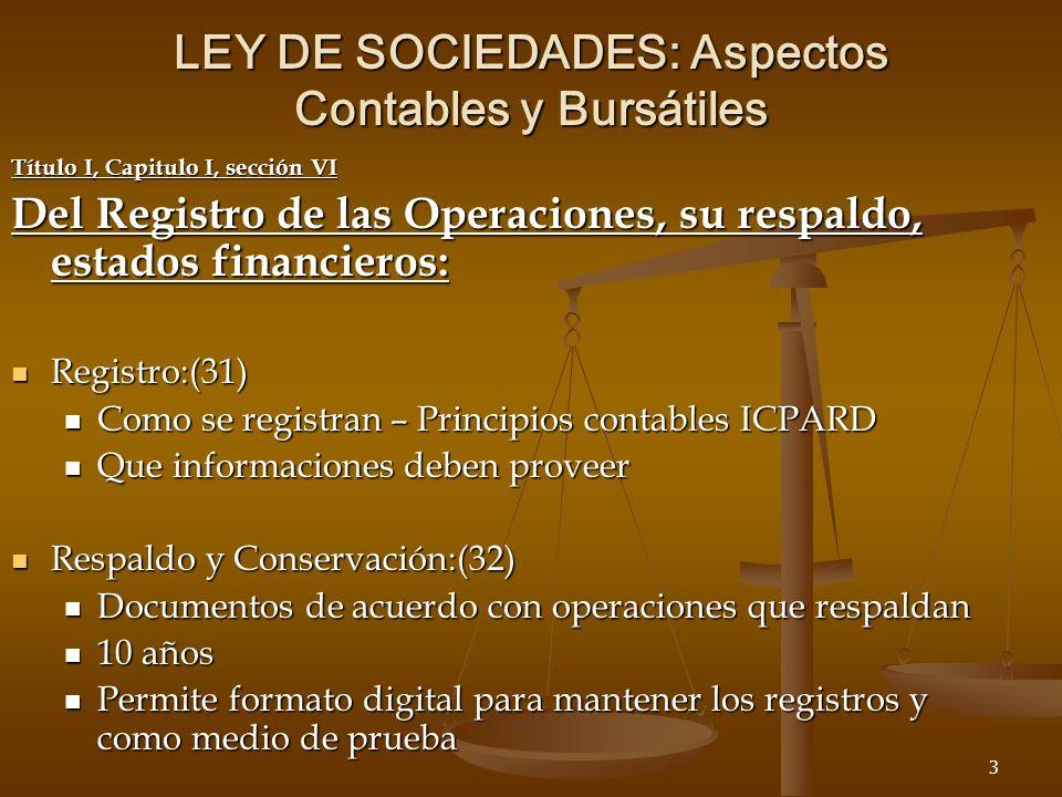 3 LEY DE SOCIEDADES: Aspectos Contables y Bursátiles Título I, Capitulo I, sección VI Del Registro de las Operaciones, su respaldo, estados financieros: Registro:(31) Registro:(31) Como se registran – Principios contables ICPARD Como se registran – Principios contables ICPARD Que informaciones deben proveer Que informaciones deben proveer Respaldo y Conservación:(32) Respaldo y Conservación:(32) Documentos de acuerdo con operaciones que respaldan Documentos de acuerdo con operaciones que respaldan 10 años 10 años Permite formato digital para mantener los registros y como medio de prueba Permite formato digital para mantener los registros y como medio de prueba
