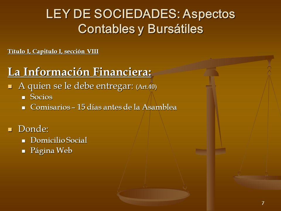 28 LEY DE SOCIEDADES: Aspectos Contables y Bursátiles Aspectos Bursátiles: SOCIEDADES ANONIMAS DE SUSCRIPCION PUBLICAS SOCIEDADES ANONIMAS DE SUSCRIPCION PUBLICAS TITULOS O VALORES EMITIDOS POR LAS SOCIEDADES ANONIMAS: TITULOS O VALORES EMITIDOS POR LAS SOCIEDADES ANONIMAS: EMISION DE ACCIONES EMISION DE ACCIONES EMISION DE OBLIGACIONES EMISION DE OBLIGACIONES