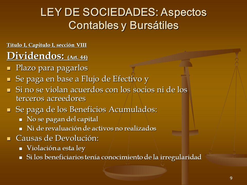 20 LEY DE SOCIEDADES: Aspectos Contables y Bursátiles 241-263 EL COMISARIO QUE PUEDE HACER (252): QUE PUEDE HACER (252): LAS VERIFICACIONES Y TODOS LOS CONTROLES QUE JUZGUEN OPORTUNOS TODAS LAS VERIFICACIONES Y TODOS LOS CONTROLES QUE JUZGUEN OPORTUNOS ACCESO A TODO LO QUE ENTIENDAN UTILES PARA EL EJERCICIO DE SU MISION ACCESO A TODO LO QUE ENTIENDAN UTILES PARA EL EJERCICIO DE SU MISION RECIBIR EL INFORME DE GESTION ANNUAL 30 DIAS ANTES DE LAS ASAMBLEAS DE ACCIONISTAS: RECIBIR EL INFORME DE GESTION ANNUAL 30 DIAS ANTES DE LAS ASAMBLEAS DE ACCIONISTAS: SI TIENE REPAROS SE LO COMUNICA A LOS ADMINISTRADORES Y AL COMITE DE AUDITORIA SI TIENE REPAROS SE LO COMUNICA A LOS ADMINISTRADORES Y AL COMITE DE AUDITORIA PUEDE CONTRATAR EXPERTOS PARA QUE LE HAGAN REVISIONES PUEDE CONTRATAR EXPERTOS PARA QUE LE HAGAN REVISIONES PUEDE POSPONER LA ASAMBLEA PUEDE POSPONER LA ASAMBLEA SE PUEDEN HACER ASISTIR POR EXPERTOS CON SUS MISMOS DERECHOS SE PUEDEN HACER ASISTIR POR EXPERTOS CON SUS MISMOS DERECHOS ACCESO A LOS TERCEROS QUE REALICEN OPERACIONES POR CUENTA DE LA SOCIEDAD (ABOGADOS, AUDITORES, BANCOS, CONSULTORES, ETC.) ACCESO A LOS TERCEROS QUE REALICEN OPERACIONES POR CUENTA DE LA SOCIEDAD (ABOGADOS, AUDITORES, BANCOS, CONSULTORES, ETC.)
