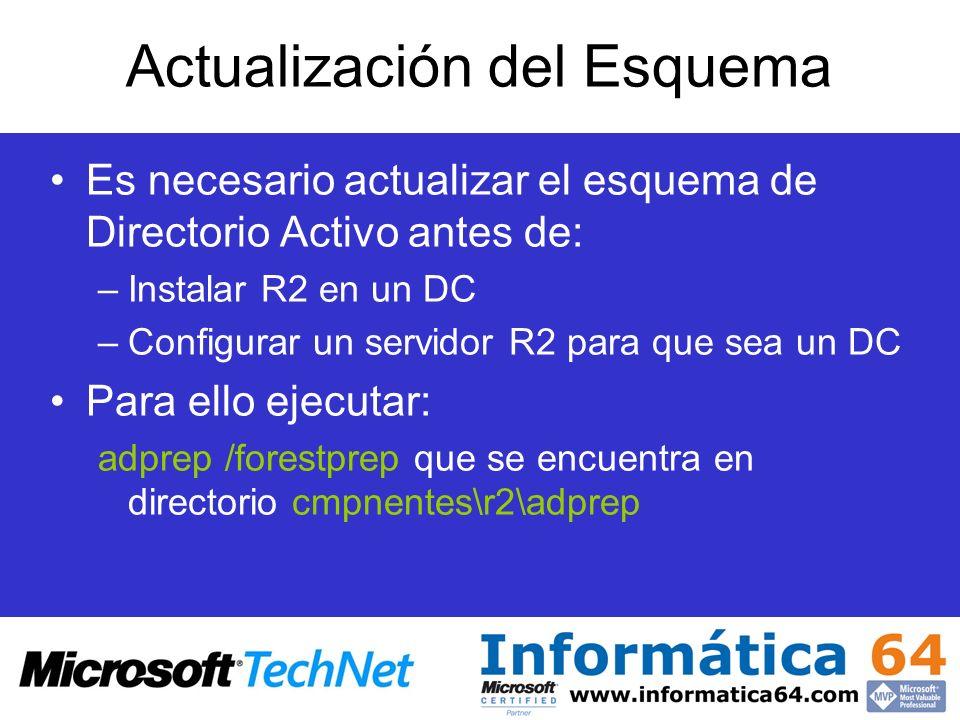 Actualización del Esquema Es necesario actualizar el esquema de Directorio Activo antes de: –Instalar R2 en un DC –Configurar un servidor R2 para que