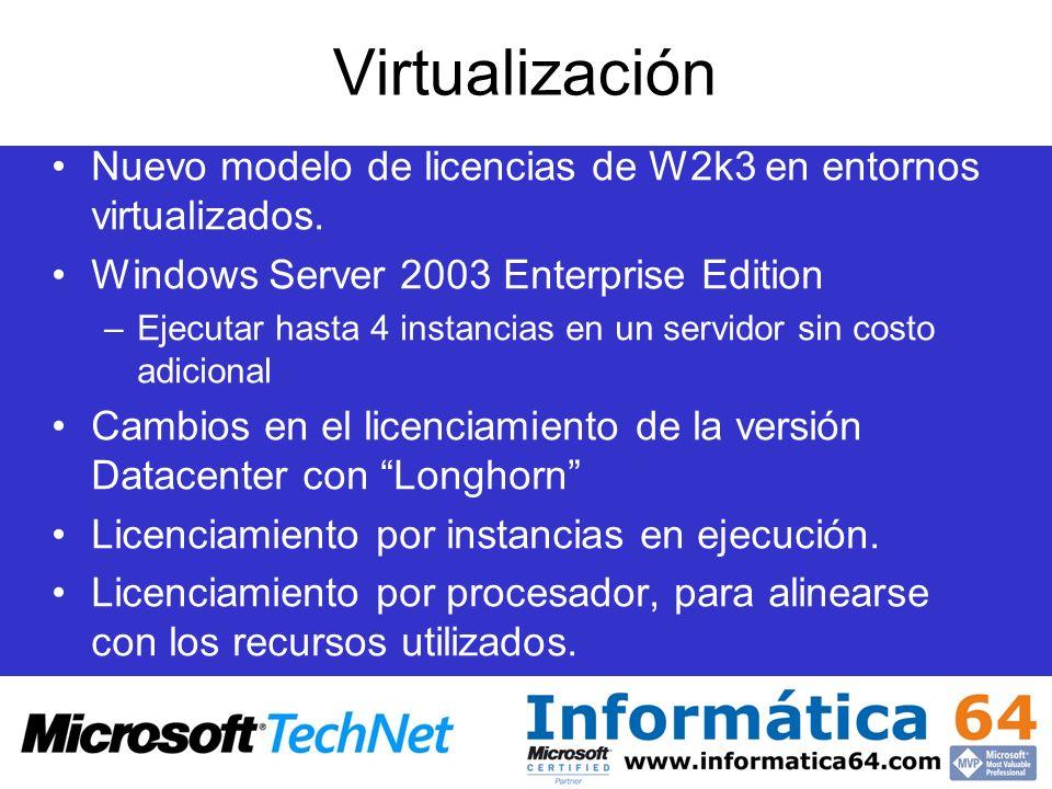 Virtualización Nuevo modelo de licencias de W2k3 en entornos virtualizados. Windows Server 2003 Enterprise Edition –Ejecutar hasta 4 instancias en un