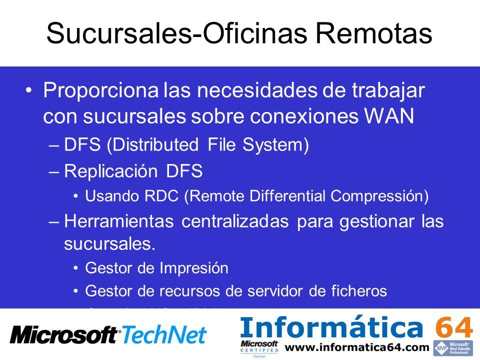 Sucursales-Oficinas Remotas Proporciona las necesidades de trabajar con sucursales sobre conexiones WAN –DFS (Distributed File System) –Replicación DF