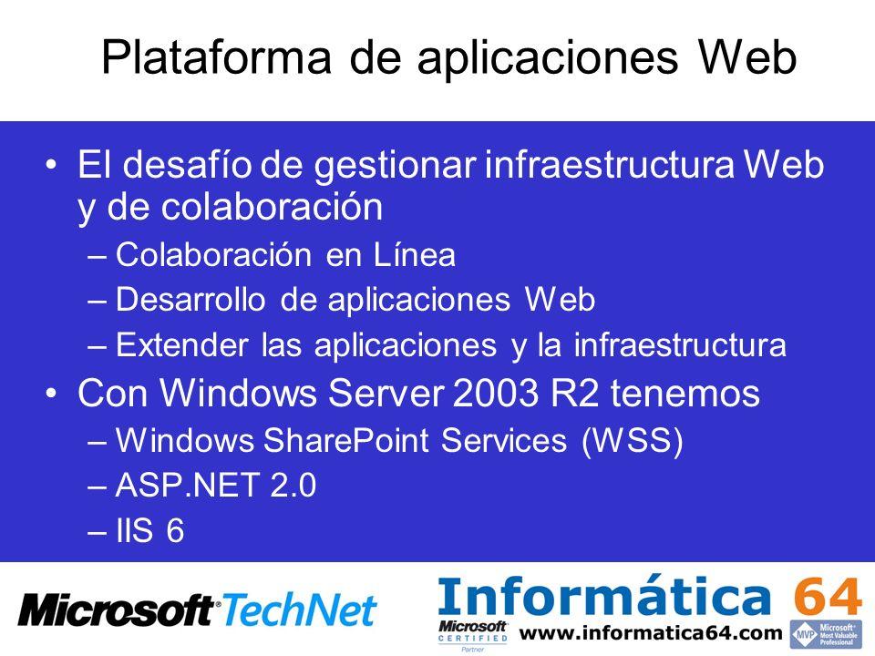 Plataforma de aplicaciones Web El desafío de gestionar infraestructura Web y de colaboración –Colaboración en Línea –Desarrollo de aplicaciones Web –E
