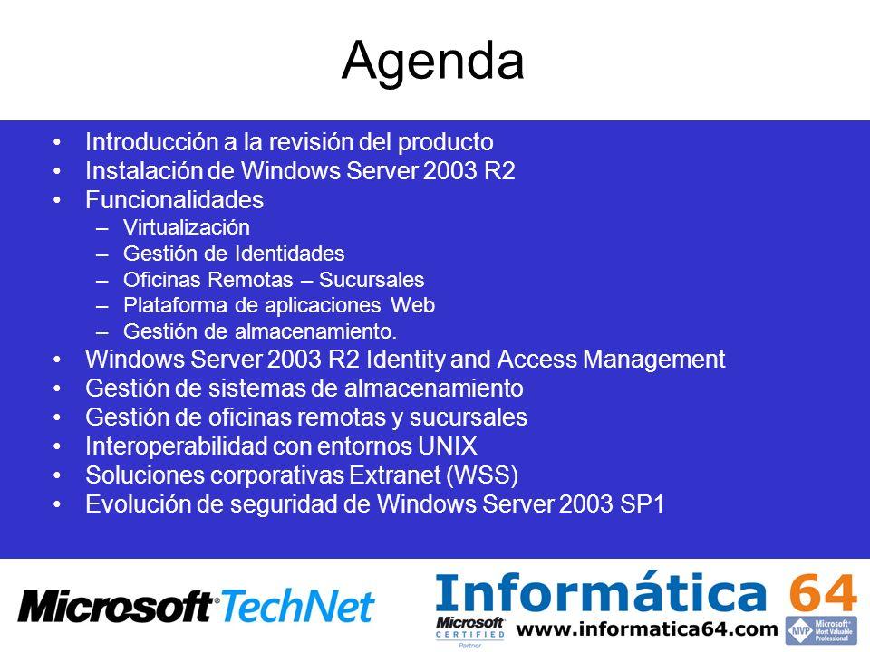 Agenda Introducción a la revisión del producto Instalación de Windows Server 2003 R2 Funcionalidades –Virtualización –Gestión de Identidades –Oficinas