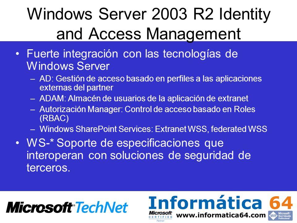 Fuerte integración con las tecnologías de Windows Server –AD: Gestión de acceso basado en perfiles a las aplicaciones externas del partner –ADAM: Alma
