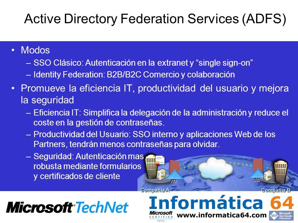 Compañía A Compañía B AD AD Modos –SSO Clásico: Autenticación en la extranet y single sign-on –Identity Federation: B2B/B2C Comercio y colaboración Pr
