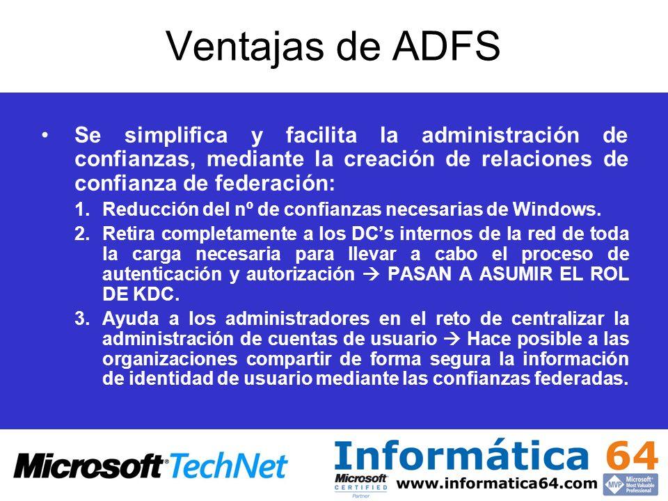 Ventajas de ADFS Se simplifica y facilita la administración de confianzas, mediante la creación de relaciones de confianza de federación: 1.Reducción