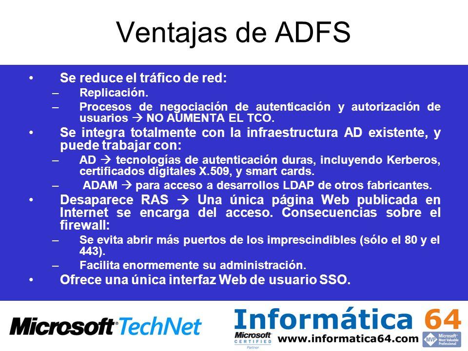 Ventajas de ADFS Se reduce el tráfico de red: –Replicación. –Procesos de negociación de autenticación y autorización de usuarios NO AUMENTA EL TCO. Se