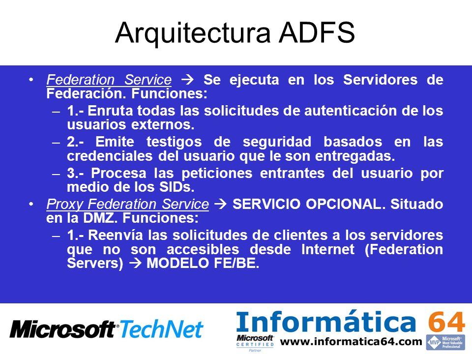 Arquitectura ADFS Federation Service Se ejecuta en los Servidores de Federación. Funciones: –1.- Enruta todas las solicitudes de autenticación de los