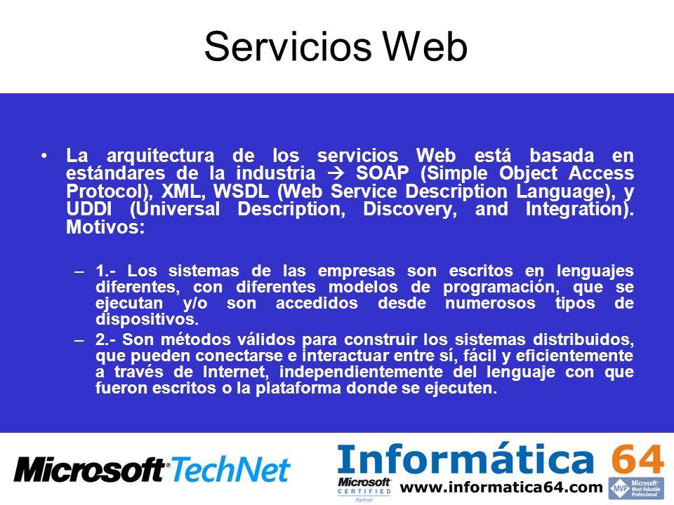 Servicios Web La arquitectura de los servicios Web está basada en estándares de la industria SOAP (Simple Object Access Protocol), XML, WSDL (Web Serv
