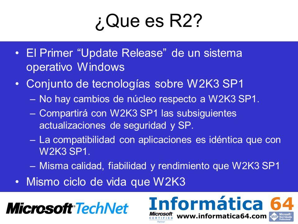 ¿Que es R2? El Primer Update Release de un sistema operativo Windows Conjunto de tecnologías sobre W2K3 SP1 –No hay cambios de núcleo respecto a W2K3