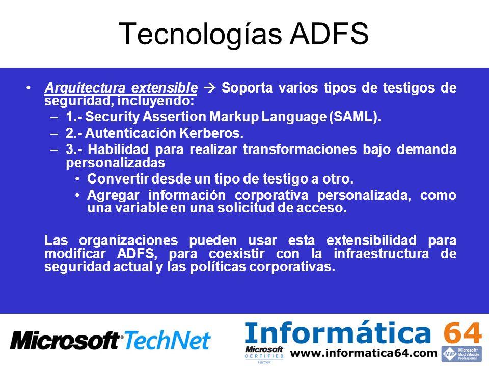 Tecnologías ADFS Arquitectura extensible Soporta varios tipos de testigos de seguridad, incluyendo: –1.- Security Assertion Markup Language (SAML). –2
