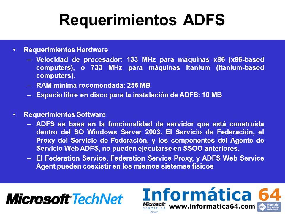 Requerimientos ADFS Requerimientos Hardware –Velocidad de procesador: 133 MHz para máquinas x86 (x86-based computers), o 733 MHz para máquinas Itanium