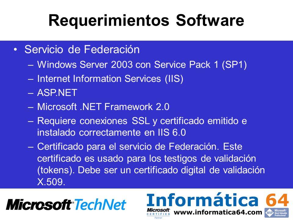 Servicio de Federación –Windows Server 2003 con Service Pack 1 (SP1) –Internet Information Services (IIS) –ASP.NET –Microsoft.NET Framework 2.0 –Requi
