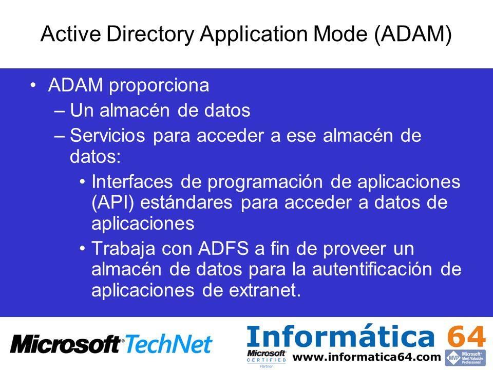 ADAM proporciona –Un almacén de datos –Servicios para acceder a ese almacén de datos: Interfaces de programación de aplicaciones (API) estándares para