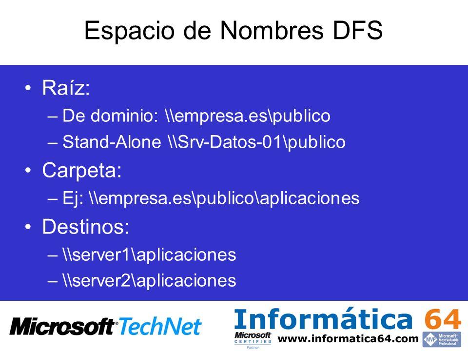 Espacio de Nombres DFS Raíz: –De dominio: \\empresa.es\publico –Stand-Alone \\Srv-Datos-01\publico Carpeta: –Ej: \\empresa.es\publico\aplicaciones Des