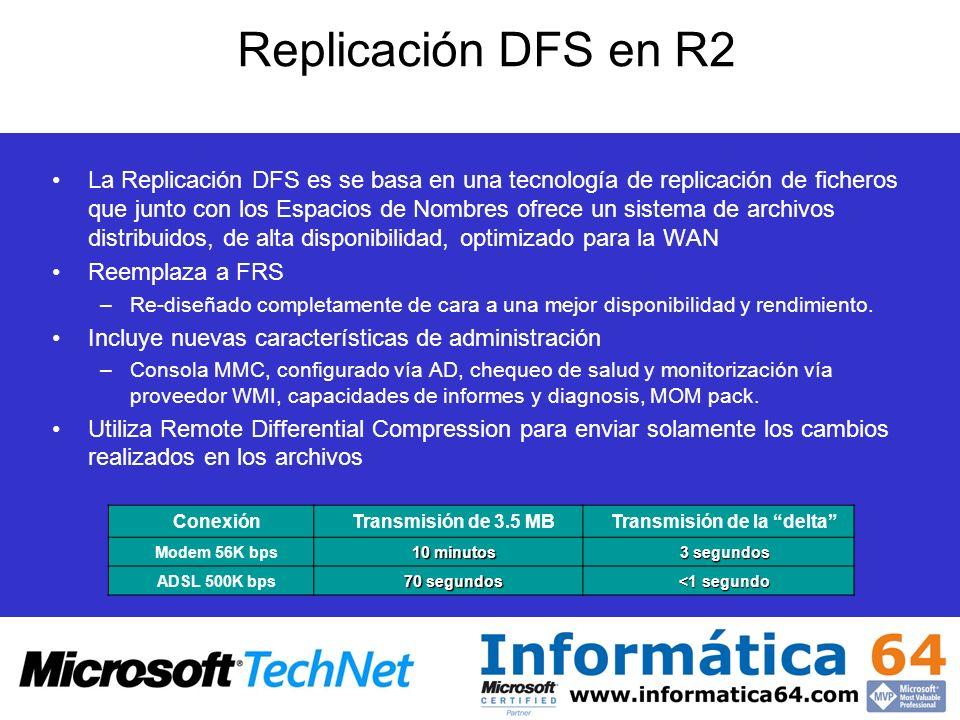 Replicación DFS en R2 La Replicación DFS es se basa en una tecnología de replicación de ficheros que junto con los Espacios de Nombres ofrece un siste