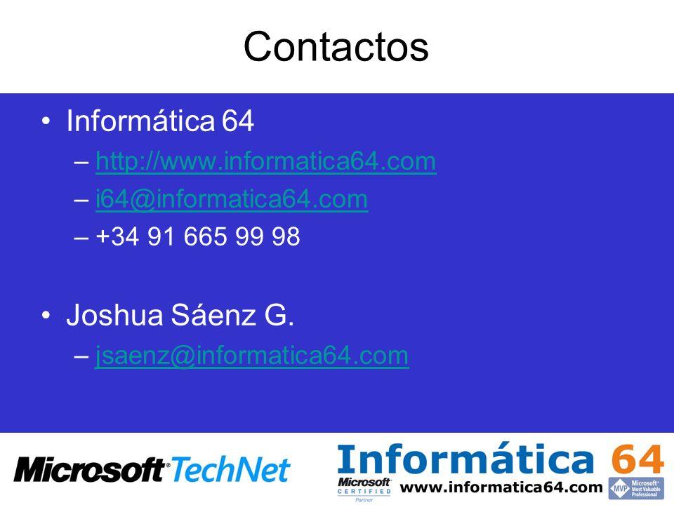 Contactos Informática 64 –http://www.informatica64.comhttp://www.informatica64.com –i64@informatica64.comi64@informatica64.com –+34 91 665 99 98 Joshu