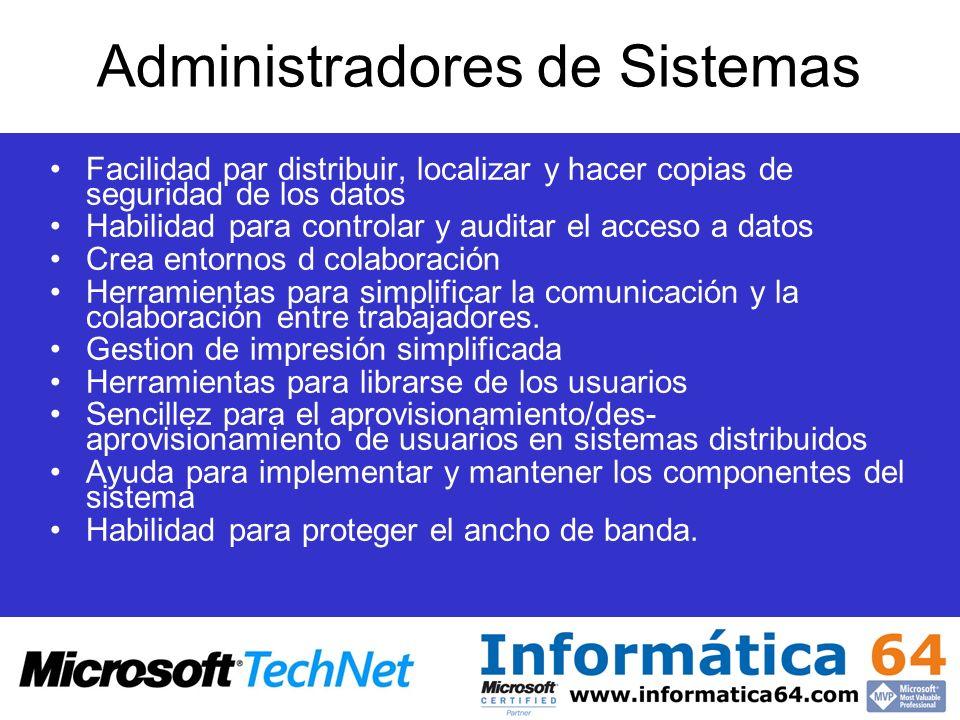 Administradores de Sistemas Facilidad par distribuir, localizar y hacer copias de seguridad de los datos Habilidad para controlar y auditar el acceso