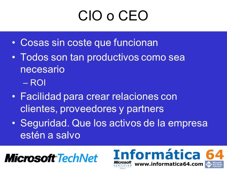 CIO o CEO Cosas sin coste que funcionan Todos son tan productivos como sea necesario –ROI Facilidad para crear relaciones con clientes, proveedores y