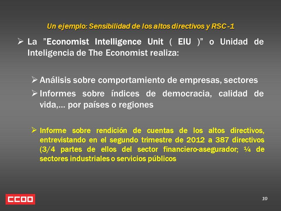 10 Un ejemplo: Sensibilidad de los altos directivos y RSC -1 La Economist Intelligence Unit ( EIU ) o Unidad de Inteligencia de The Economist realiza:
