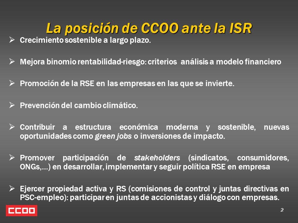 2 La posición de CCOO ante la ISR Crecimiento sostenible a largo plazo. Mejora binomio rentabilidad-riesgo: criterios análisis a modelo financiero Pro