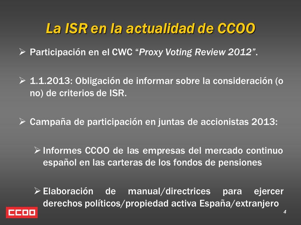 La ISR en la actualidad de CCOO Participación en el CWC Proxy Voting Review 2012. 1.1.2013: Obligación de informar sobre la consideración (o no) de cr