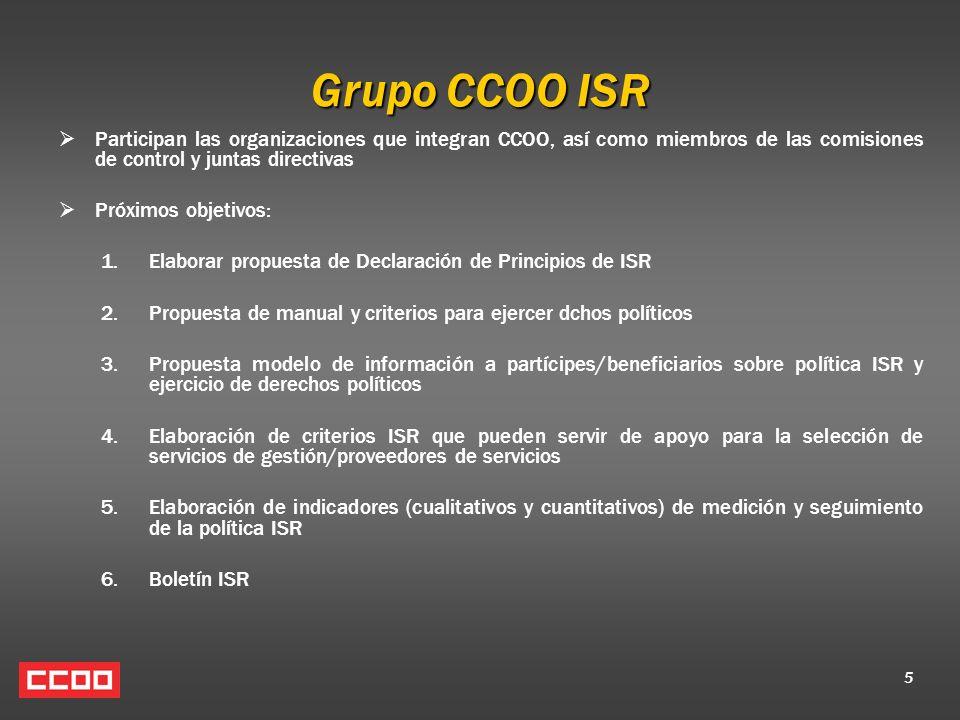 5 Grupo CCOO ISR Participan las organizaciones que integran CCOO, así como miembros de las comisiones de control y juntas directivas Próximos objetivo