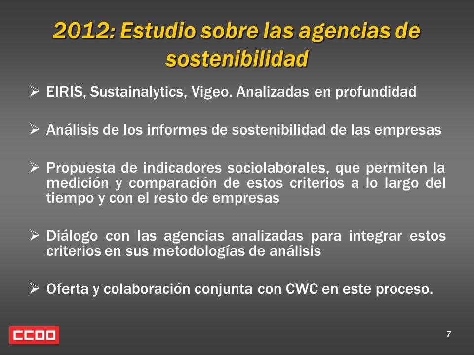 7 2012: Estudio sobre las agencias de sostenibilidad EIRIS, Sustainalytics, Vigeo. Analizadas en profundidad Análisis de los informes de sostenibilida