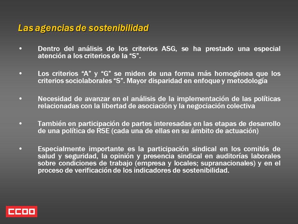 Las agencias de sostenibilidad Dentro del análisis de los criterios ASG, se ha prestado una especial atención a los criterios de la S. Los criterios A