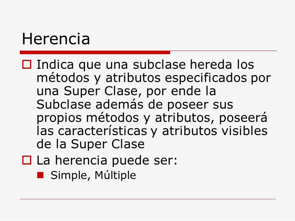 Herencia Indica que una subclase hereda los métodos y atributos especificados por una Super Clase, por ende la Subclase además de poseer sus propios m
