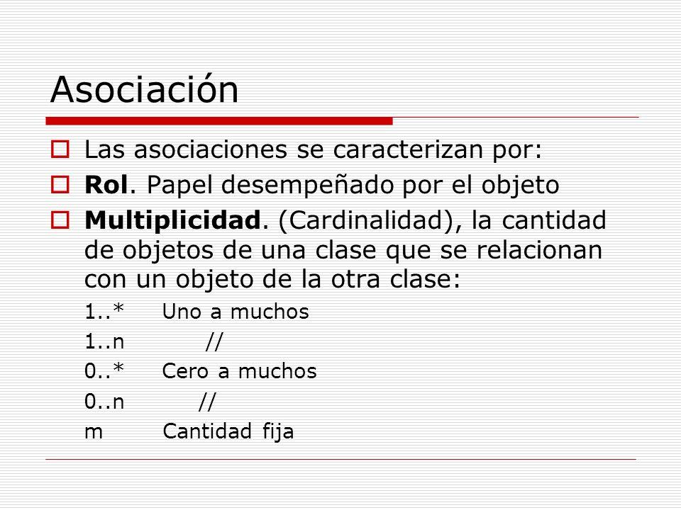Asociación Las asociaciones se caracterizan por: Rol. Papel desempeñado por el objeto Multiplicidad. (Cardinalidad), la cantidad de objetos de una cla