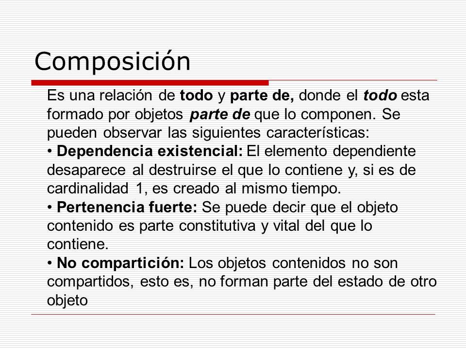 Composición Es una relación de todo y parte de, donde el todo esta formado por objetos parte de que lo componen. Se pueden observar las siguientes car