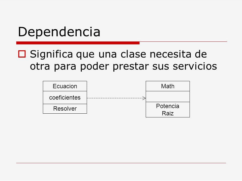 Dependencia Significa que una clase necesita de otra para poder prestar sus servicios Ecuacion coeficientes Resolver Math Potencia Raiz