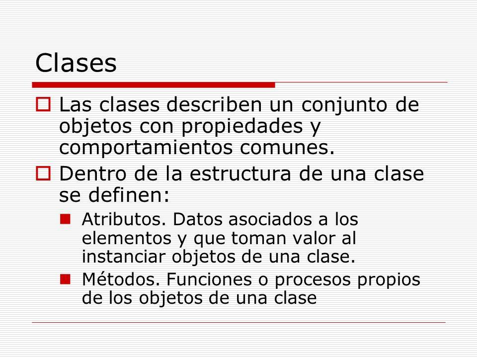 Clases Las clases describen un conjunto de objetos con propiedades y comportamientos comunes. Dentro de la estructura de una clase se definen: Atribut