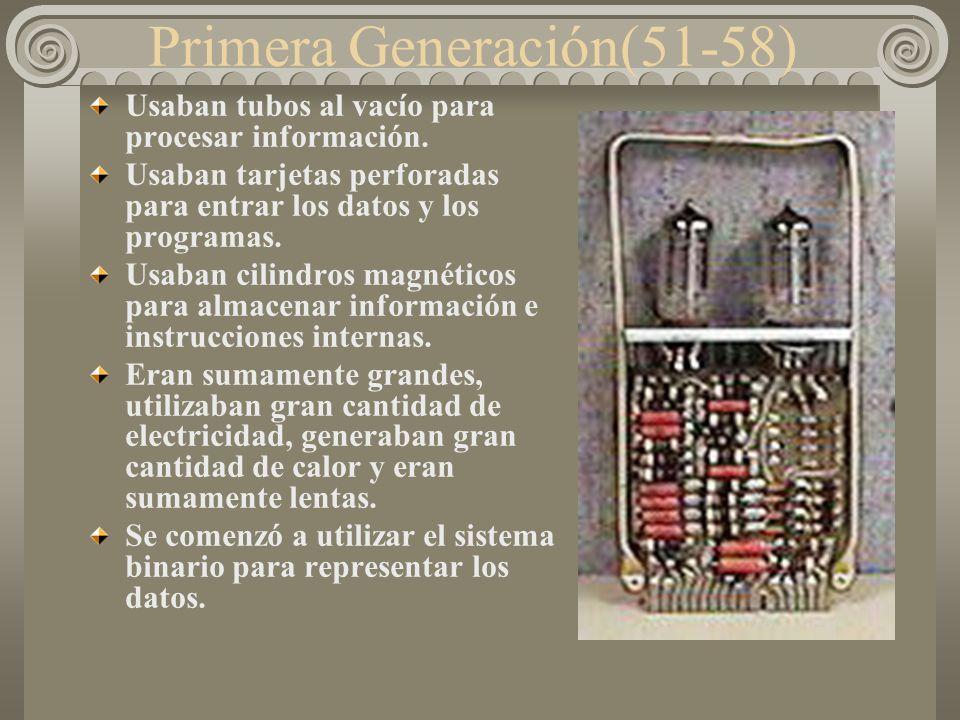 Por su evolución tecnológica Primera Generación Segunda Generación Tercera Generación Cuarta Generación Quinta Generación